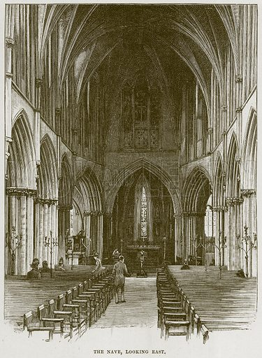 The Nave, looking East. Illustration from Cathedrals, Abbeys and Churches by T G Bonney (Cassell, 1891).