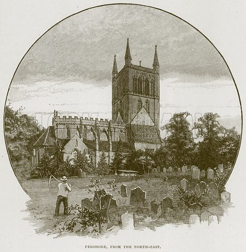Pershore, from the North-East. Illustration from Cathedrals, Abbeys and Churches by T G Bonney (Cassell, 1891).
