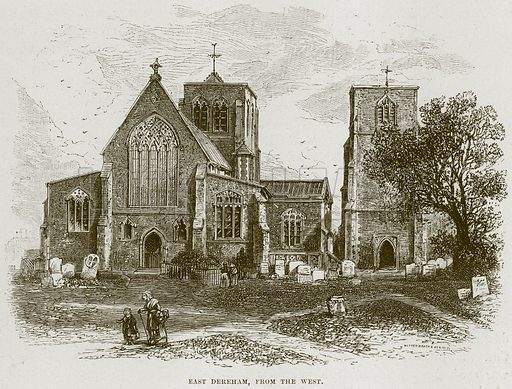 East Dereham, from the West. Illustration from Cathedrals, Abbeys and Churches by T G Bonney (Cassell, 1891).