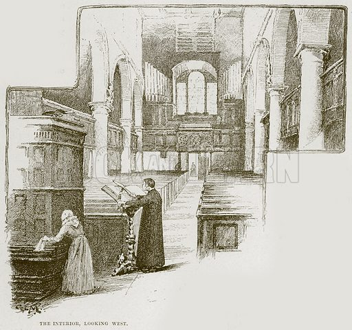 The Interior, looking West. Illustration from Cathedrals, Abbeys and Churches by T G Bonney (Cassell, 1891).