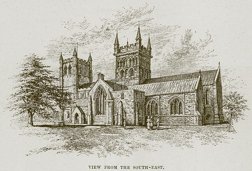 View from the South-East. Illustration from Cathedrals, Abbeys and Churches by T G Bonney (Cassell, 1891).