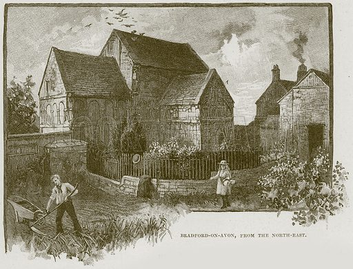 Bradford-on-Avon, from the North-East. Illustration from Cathedrals, Abbeys and Churches by T G Bonney (Cassell, 1891).