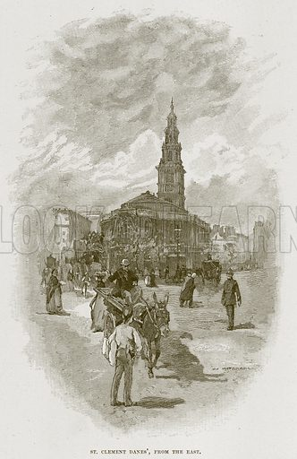 St. Clement Danes', from the East. Illustration from Cathedrals, Abbeys and Churches by T G Bonney (Cassell, 1891).
