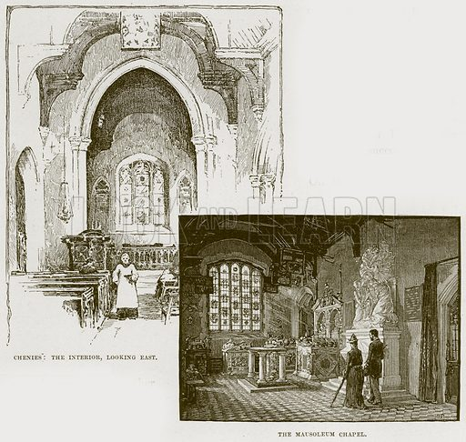 Chenies: The Interior, looking East. The Mausoleum Chapel. Illustration from Cathedrals, Abbeys and Churches by T G Bonney (Cassell, 1891).