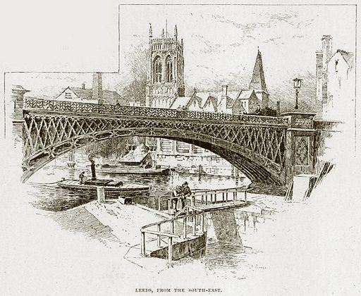 Leeds, from the South-East. Illustration from Cathedrals, Abbeys and Churches by TG Bonney (Cassell, 1891).