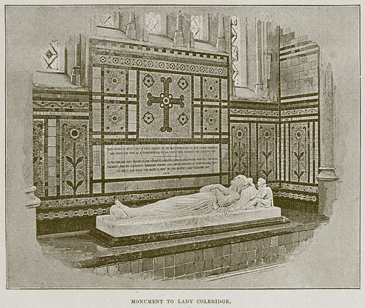 Monument to Lady Coleridge. Illustration from Cathedrals, Abbeys and Churches by T G Bonney (Cassell, 1891).