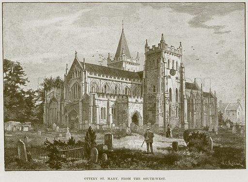 Ottery St. Mary, from the South-West. Illustration from Cathedrals, Abbeys and Churches by T G Bonney (Cassell, 1891).