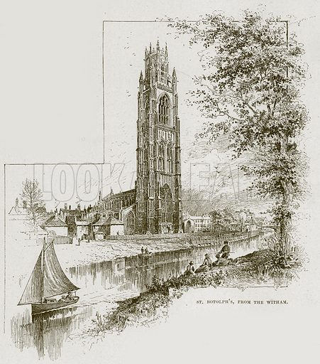 St Botolph's, from the Witham. Illustration from Cathedrals, Abbeys and Churches by TG Bonney (Cassell, 1891).