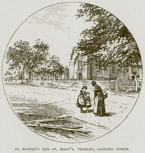 St Martin's and St Mary's, Trimley, looking North. Illustration from Cathedrals, Abbeys and Churches by TG Bonney (Cassell, 1891).