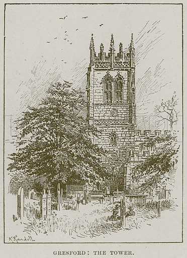 Gresford: The Tower. Illustration from Cathedrals, Abbeys and Churches by T G Bonney (Cassell, 1891).