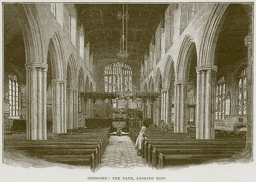 Gresford: The Nave, looking East. Illustration from Cathedrals, Abbeys and Churches by T G Bonney (Cassell, 1891).