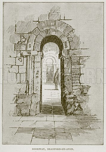 Doorway, Bradford-on-Avon. Illustration from Cathedrals, Abbeys and Churches by T G Bonney (Cassell, 1891).