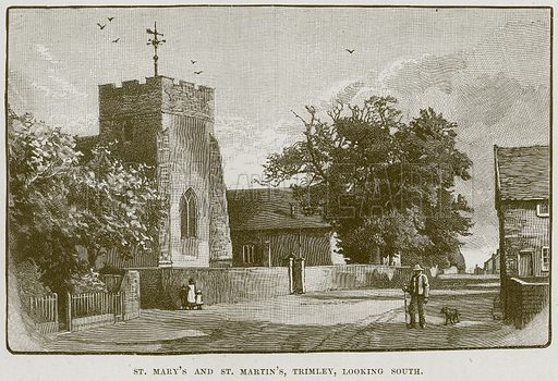 St Mary's and St Martin's, Trimley, looking South. Illustration from Cathedrals, Abbeys and Churches by TG Bonney (Cassell, 1891).