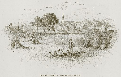 Distant View of Brixworth Church. Illustration from Cathedrals, Abbeys and Churches by T G Bonney (Cassell, 1891).