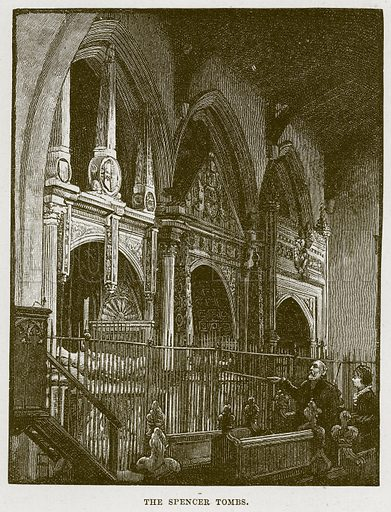 The Spencer Tombs. Illustration from Cathedrals, Abbeys and Churches by T G Bonney (Cassell, 1891).