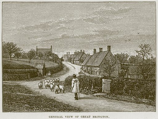 General View of Great Brington. Illustration from Cathedrals, Abbeys and Churches by T G Bonney (Cassell, 1891).