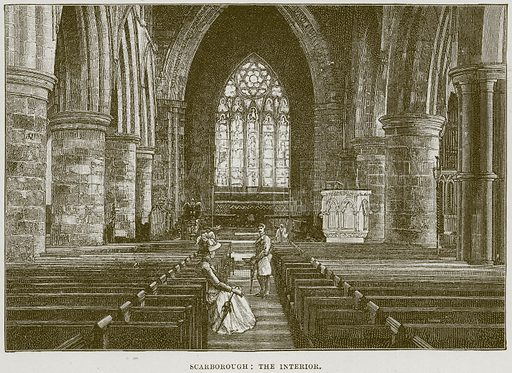 Scarborough: The Interior. Illustration from Cathedrals, Abbeys and Churches by T G Bonney (Cassell, 1891).