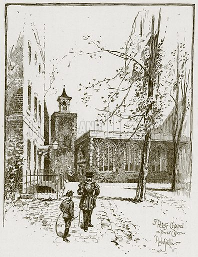 Tower of London. Illustration from Cathedrals, Abbeys and Churches by T G Bonney (Cassell, 1891).