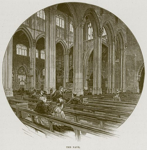The Nave. Illustration from Cathedrals, Abbeys and Churches by T G Bonney (Cassell, 1891).