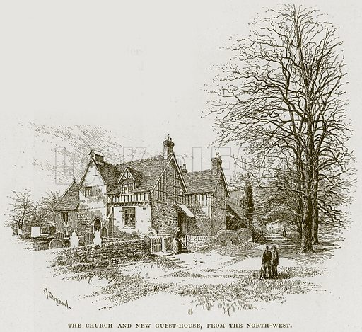 The Church and New Guest-House, from the North-West. Illustration from Cathedrals, Abbeys and Churches by TG Bonney (Cassell, 1891).