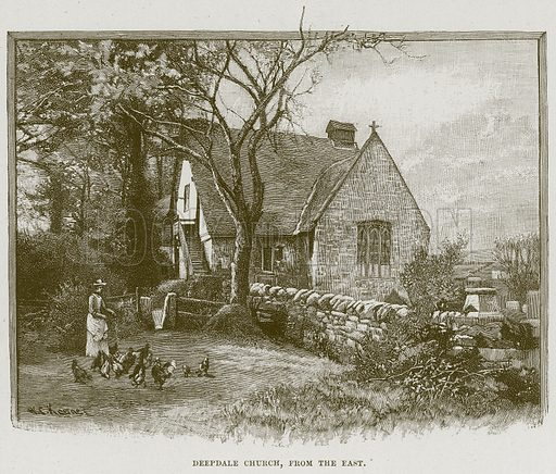 Deepdale Church, from the East. Illustration from Cathedrals, Abbeys and Churches by TG Bonney (Cassell, 1891).