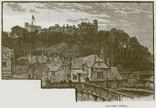 Arundel Castle. Illustration from Cathedrals, Abbeys and Churches by T G Bonney (Cassell, 1891).