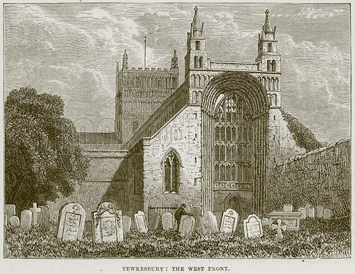 Tewkesbury: The West Front. Illustration from Cathedrals, Abbeys and Churches by T G Bonney (Cassell, 1891).