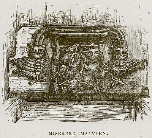Miserere, Malvern. Illustration from Cathedrals, Abbeys and Churches by T G Bonney (Cassell, 1891).