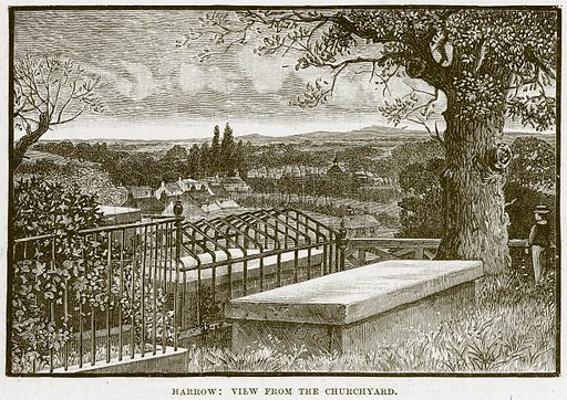 Harrow: View from the Churchyard. Illustration from Cathedrals, Abbeys and Churches by T G Bonney (Cassell, 1891).