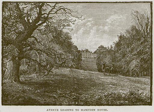 Avenue leading to Hampden House. Illustration from Cathedrals, Abbeys and Churches by T G Bonney (Cassell, 1891).