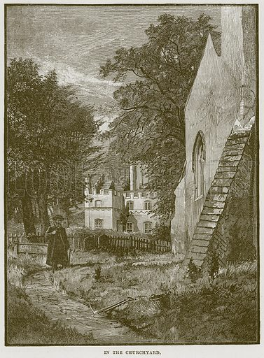 In the Churchyard. Illustration from Cathedrals, Abbeys and Churches by T G Bonney (Cassell, 1891).