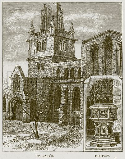 St. Mary's. The Font. Illustration from Cathedrals, Abbeys and Churches by T G Bonney (Cassell, 1891).