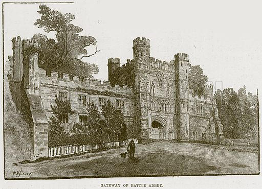 Gateway of Battle Abbey. Illustration from Cathedrals, Abbeys and Churches by T G Bonney (Cassell, 1891).