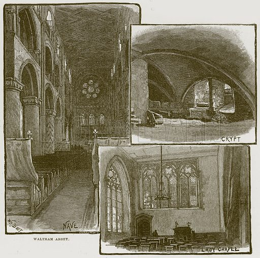 Waltham Abbey. Illustration from Cathedrals, Abbeys and Churches by T G Bonney (Cassell, 1891).