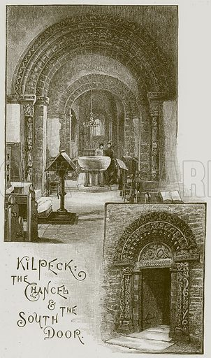 Kilpeck: The Chancel & the South Door. Illustration from Cathedrals, Abbeys and Churches by T G Bonney (Cassell, 1891).
