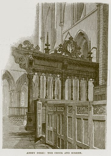 Abbey Dore: The Choir and Screen. Illustration from Cathedrals, Abbeys and Churches by TG Bonney (Cassell, 1891).
