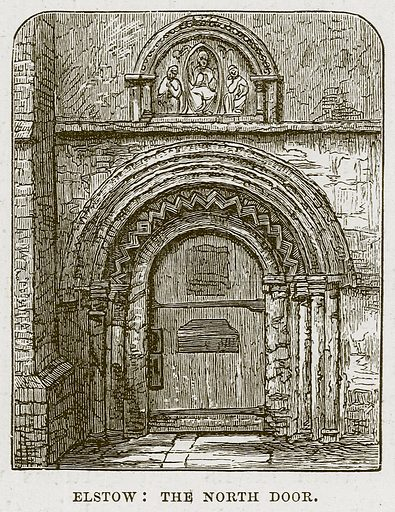 Elstow: The North Door. Illustration from Cathedrals, Abbeys and Churches by TG Bonney (Cassell, 1891).