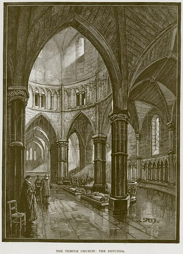 The Temple Church: The Rotunda. Illustration from Cathedrals, Abbeys and Churches by T G Bonney (Cassell, 1891).