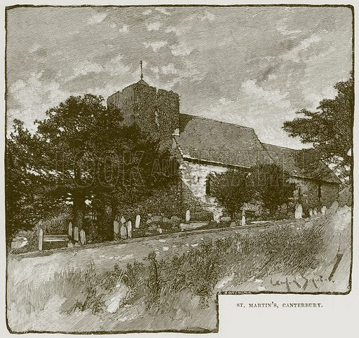 St. Martin's, Canterbury. Illustration from Cathedrals, Abbeys and Churches by T G Bonney (Cassell, 1891).