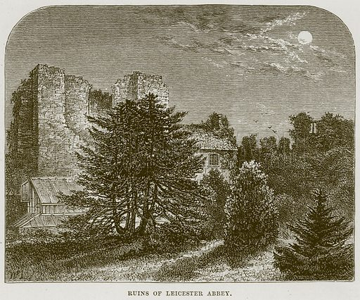 Ruins of Leicester Abbey. Illustration from Cathedrals, Abbeys and Churches by TG Bonney (Cassell, 1891).