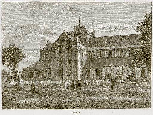 Romsey. Illustration from Cathedrals, Abbeys and Churches by T G Bonney (Cassell, 1891).