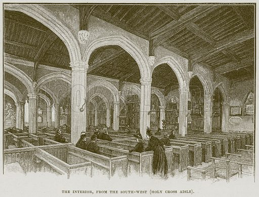 The Interior, from the South-West (Holy Cross Aisle). Illustration from Cathedrals, Abbeys and Churches by T G Bonney (Cassell, 1891).