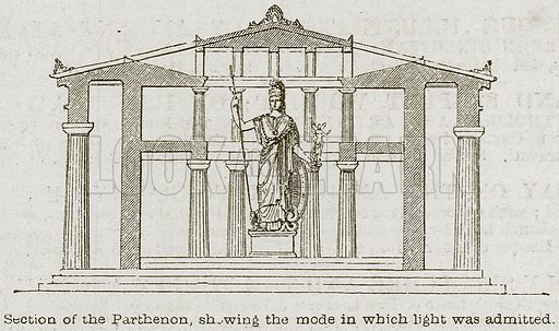 Section of the Parthenon, showing the mode in which Light was Admitted. Illustration from A History of Architecture by James Fergusson (John Murray, 1874).