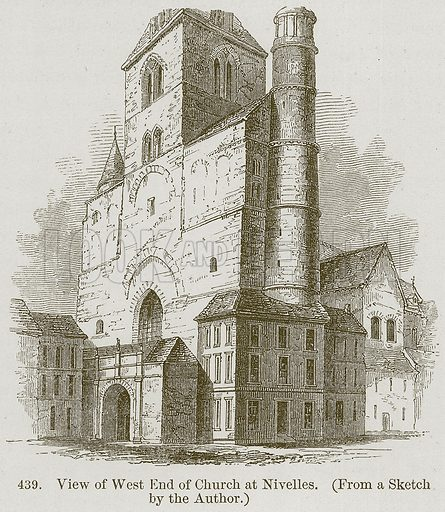 View of West End of Church at Nivelles. Illustration from A History of Architecture by James Fergusson (John Murray, 1874).