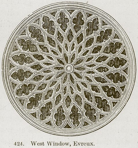 West Window, Evreux. Illustration from A History of Architecture by James Fergusson (John Murray, 1874).