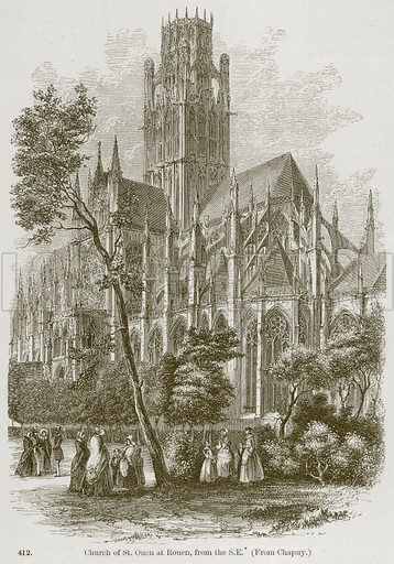 Church of St Ouen at Rouen, from the SE Illustration from A History of Architecture by James Fergusson (John Murray, 1874).