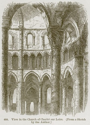 View in the Church of Charite sur Loire. Illustration from A History of Architecture by James Fergusson (John Murray, 1874).