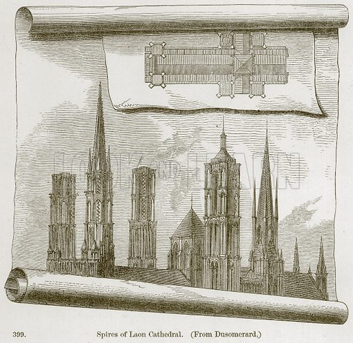Spires of Laon Cathedral. Illustration from A History of Architecture by James Fergusson (John Murray, 1874).