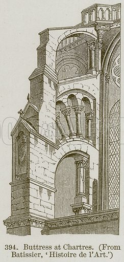 Buttress at Chartres. Illustration from A History of Architecture by James Fergusson (John Murray, 1874).