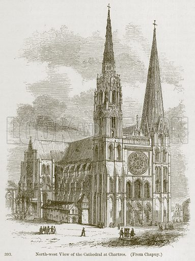 North-West View of the Cathedral at Chartres. Illustration from A History of Architecture by James Fergusson (John Murray, 1874).